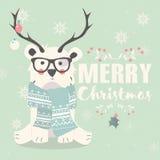 Merry Christmas postcard, hipster polar bear wearing glasses  Royalty Free Stock Image