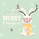 Merry Christmas postcard, hipster polar rabbit wearing glasses  Royalty Free Stock Images