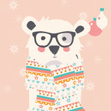 Merry Christmas postcard with hipster polar white bear  Royalty Free Stock Photography