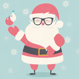 Merry Christmas postcard with hipster Santa Claus wearing glasses Royalty Free Stock Photography