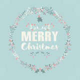 Merry Christmas postcard with lettering and floral wreaths. Vector illustration Stock Photos