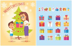 Merry Christmas Postcard Mother Gives Present Son. Merry Christmas postcard with mother giving present to son and set of gift boxes in color wrapping, icons of Royalty Free Stock Photography