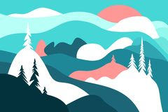 Merry Christmas. Postcard with mountains and snow covered hills, snowfall and the sun, trees. Winter landscape. vector illustration
