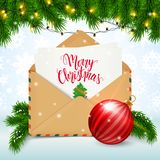Merry Christmas postcard, realistic envelope, fir branches and d vector illustration