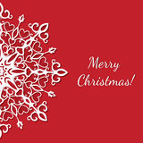 Merry christmas postcard. Red christmas greeting card with exquisite snowflake Stock Image
