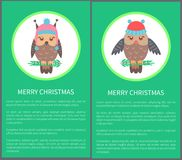 Merry Christmas Postcard 60s Vector Illustration. Merry Christmas postcard 60s with beautiful owl dressed in knitted hat with bubo. Vector illustration with bird Royalty Free Stock Images