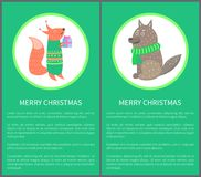 Merry Christmas Postcard 70s Vector Illustration. Merry Christmas postcard 70s with squirrel with present and wolf dressed in green scarf. Vector illustration Royalty Free Stock Images