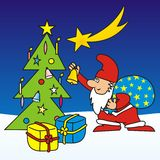 Merry Christmas - postcard. Santa Claus brought Christmas presents under the tree. Children's picture Stock Photos