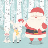 Merry Christmas postcard with Santa Claus, deer, rabbit in forest Stock Photo