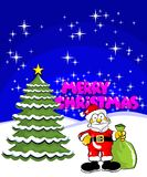 Merry Christmas Postcard with santa claus and a pi Stock Images