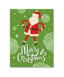 Merry Christmas Postcards with Santa Claus Winter. Merry Christmas postcard with Santa Claus winter holidays symbol with hands on waist Father Christmas on green royalty free illustration
