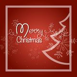 Merry christmas postcard. Shiny garland with fir tree and snowflakes. On red background Royalty Free Stock Photo