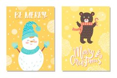 Merry Christmas Postcard with Smiling Snowman Card. Merry Christmas postcards with smiling snowman in blue knitted scarf, hat and mittens and brown bear with royalty free illustration