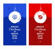 Merry Christmas, postcard, snow globe, snowflake, blue, red, English font. Royalty Free Stock Photo