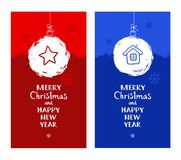 Merry Christmas, postcard, snow globe, star, house, blue, red, English font. Stock Photography