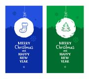 Merry Christmas, postcard, snow globe, tree, blue, green, English font. Royalty Free Stock Photography