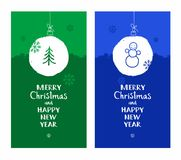 Merry Christmas, postcard, snow globe, tree, snowman, blue, green, English font. Stock Photos