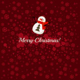 Merry Christmas postcard with snowman Royalty Free Stock Image