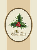 Merry Christmas postcard with  a sprig of mistletoe in the old v Royalty Free Stock Photos