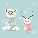 Merry Christmas postcard with two polar bears, hipster and cub Stock Photography