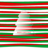 Merry Christmas postcard. Vector postcard in red and green with fir tree Royalty Free Stock Photos