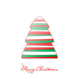 Merry Christmas postcard. Vector postcard in red and green with fir tree Stock Photo