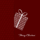 Merry christmas postcard. Vector red christmas postcard with present Royalty Free Stock Images