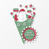 Merry Christmas postcard. Vector christmas postcard with toys Royalty Free Stock Photo