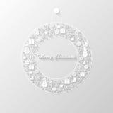 Merry Christmas postcard. Vector christmas postcard with wreath Royalty Free Stock Photo