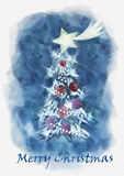 Merry Christmas postcard. Watercolor illustration Royalty Free Stock Photo