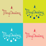 Merry Christmas postcards. Set of 4 postcards with calligraphic Merry Christmas greeting royalty free illustration