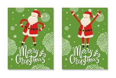Merry Christmas Postcards with Santa Claus Winter. Merry Christmas postcards Santa Claus winter holidays symbol with raised hands up set of posters Father vector illustration