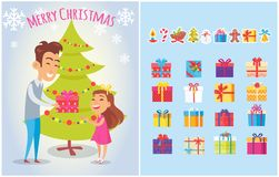 Merry Christmas Postcards Set Piles of Gift Boxes. Merry Christmas postcards set with gift boxes, New year symbols, wrapped gifts, icons of spruce cones, father royalty free illustration