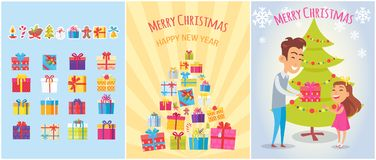 Merry Christmas Postcards Set Piles of Gift Boxes. Merry Christmas postcards set with piles of gift boxes, New year symbols, wrapped gifts, icons of candy stick vector illustration