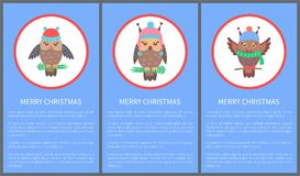 Merry Christmas Postcards Vector Illustration. Merry Christmas 60s stylizied postcard with owl dressed in scarf and knitted hat. Vector illustration with royalty free illustration