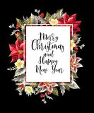 Merry Christmas poster or banner with december flowers and slogan. Vector. Merry Christmas poster or banner with december flowers and slogan stock illustration