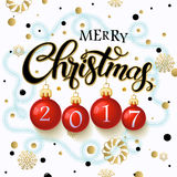 Merry Christmas 2017 poster. Calligraphy text, on the background of Christmas tree branches and snowflakes, winter theme template. Vector Stock Image