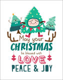 Merry Christmas. Christmas poster/ card with cute Christmas trees Royalty Free Stock Photography
