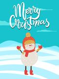 Merry Christmas Poster Congratulation from Snowman. Dressed in red knitted scarf, hat with bubo and mittens vector illustration on winter landscape Stock Photo