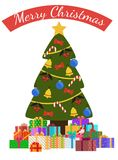 Merry Christmas Poster with Decorated Tree by Garlands. Bells and bows on ribbons, golden star on top, packed presents in gift boxes vector illustration Stock Photos