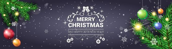 Merry Christmas Poster Decorative Holiday Horizontal Banner Pine Tree Branches. Vector Illustration Royalty Free Stock Photography