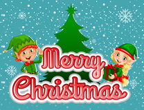 Merry Christmas poster with elf and present Royalty Free Stock Photography