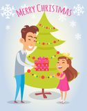Merry Christmas Poster with Father and Daughter. Near to Xmas tree. Vector illustration parent giving present to happy child on background of snowflakes royalty free illustration