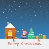 Merry Christmas poster. Flat pixel art. Stock Image