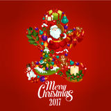 Merry Christmas 2017 poster. Gingerbread man. Merry Christmas. Vector greeting card, poster with symbols of 2017 New Year, Christmas tree ornaments, santa, gifts Royalty Free Stock Photo