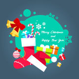 Merry Christmas Poster Greeting Card Gift Box Hat Stock Photos