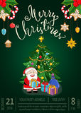 Merry Christmas Poster for Holiday Party Promo Royalty Free Stock Photos