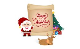 Merry Christmas, poster lettering and card design, Santa Claus, reindeer, gift and tree, old paper tag brochure banner background stock illustration