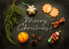 Merry Christmas - poster or postcard design Stock Photo