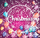 Merry christmas poster on red background with flying balloons. Merry christmas poster on red background with flying balloons and white circle frame. Vector Stock Photography